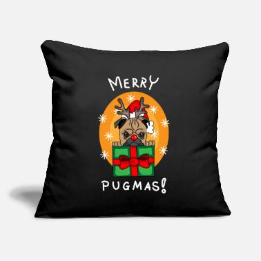 "Christmas pug - Throw Pillow Cover 18"" x 18"""