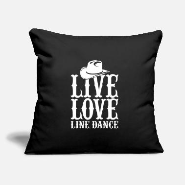 "Countrymusic Live Love Line Dance Dancing Cowboy Countrymusic - Throw Pillow Cover 18"" x 18"""