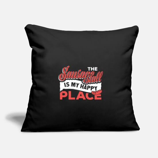 "Grillwurst Pillow Cases - Sausage stall is my happy place - Throw Pillow Cover 18"" x 18"" black"