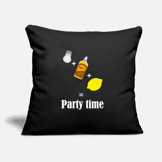 "Time Travel Pillow Cases - Party time Tequila - Throw Pillow Cover 18"" x 18"" black"