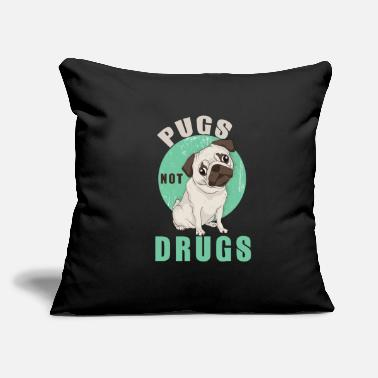 "Fight Addiction Cute Pugs Not Drugs Design - Fight Against Drugs - Throw Pillow Cover 18"" x 18"""