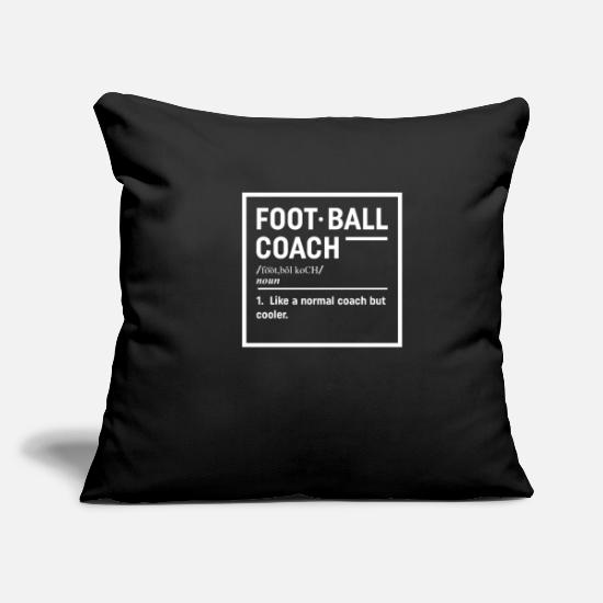 "Coach Pillow Cases - Funny Football Coach Design Gift For Football Fans - Throw Pillow Cover 18"" x 18"" black"