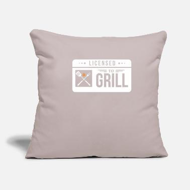 "License Licensed To Grill - Throw Pillow Cover 18"" x 18"""