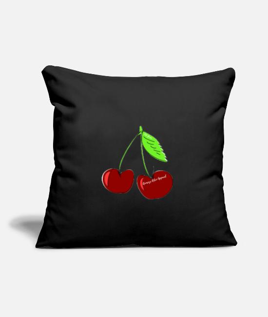 "Apparel Pillow Cases - ""Ramseys Cherries "" - Throw Pillow Cover 18"" x 18"" black"