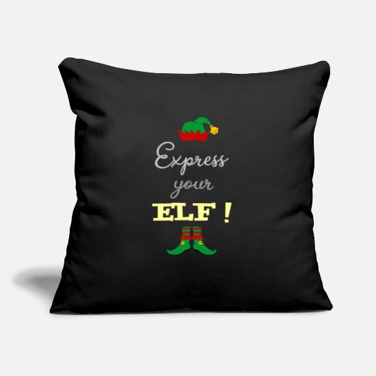 "Reduced Pillow Cases - Express your ELF! - Express yourself! - Throw Pillow Cover 18"" x 18"" black"