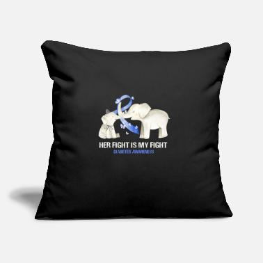"Awareness Diabetes Awareness Elephant Her Fight Is My Fight - Throw Pillow Cover 18"" x 18"""
