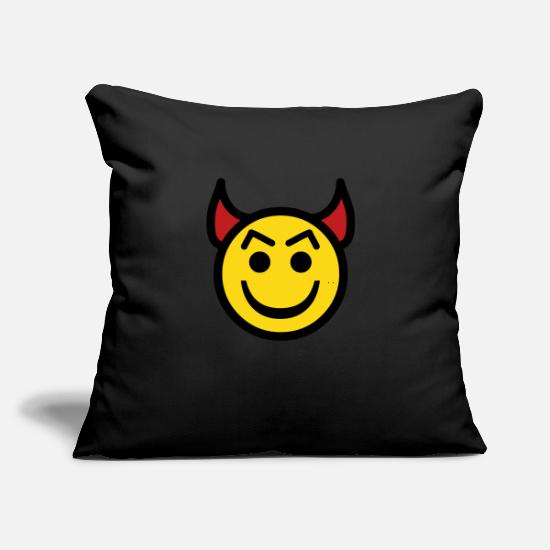 "Bad Pillow Cases - Devil happy face - Throw Pillow Cover 18"" x 18"" black"