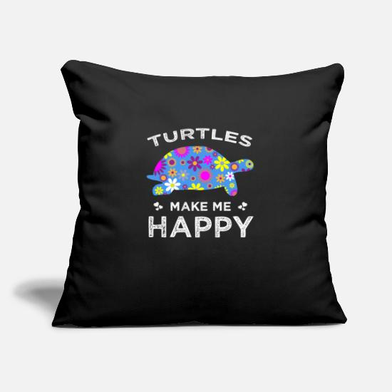 "Happy Pillow Cases - Turtles Make Me Happy Cute Floral Gift Ideas - Throw Pillow Cover 18"" x 18"" black"