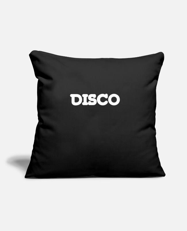 "Discothek Pillow Cases - DISCO TIME Party Event Celebrate Music Loud - Throw Pillow Cover 18"" x 18"" black"