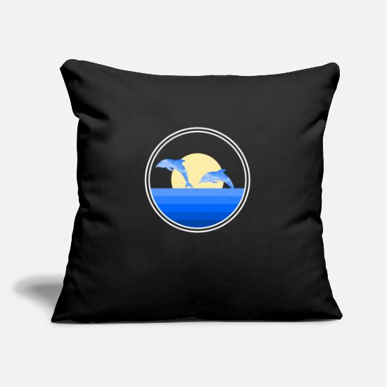 "Special Pillow Cases - ocean dolphins - Throw Pillow Cover 18"" x 18"" black"