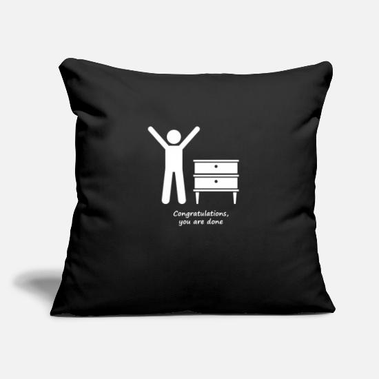 "Your Mom Pillow Cases - Congratulations you are done - Throw Pillow Cover 18"" x 18"" black"