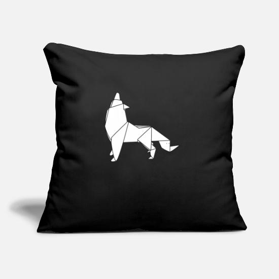 "Wolf Pillow Cases - Origami Wolf - Throw Pillow Cover 18"" x 18"" black"