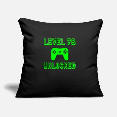 "Old School Level 78 Unlocked Gamer 78th Birthday Gift Idea - Throw Pillow Cover 18"" x 18"""