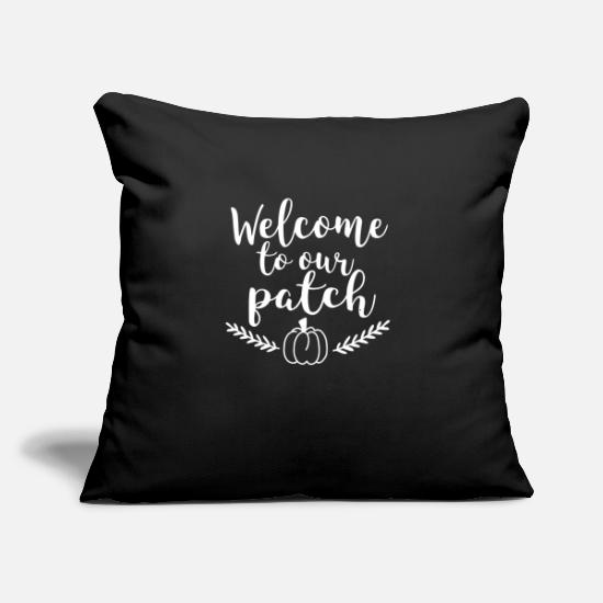 "Halloween Pillow Cases - Welcome To Our Patch Pumpkin Fall Autumn Leaves - Throw Pillow Cover 18"" x 18"" black"
