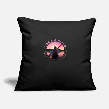 "Rafting Go With The Flow - Throw Pillow Cover 18"" x 18"""