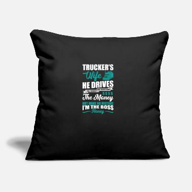 "Circle Trucker's wife he drives the truck and brings home - Throw Pillow Cover 18"" x 18"""