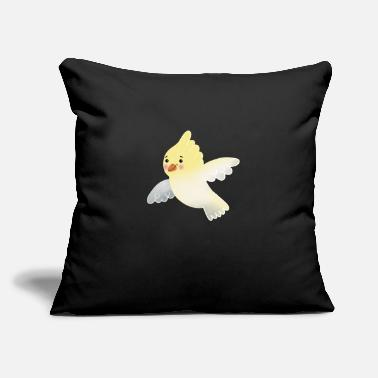 "Cute hand drawn Flying Cockatiel Bird - Throw Pillow Cover 18"" x 18"""