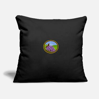 "Vineyards Grapes Vineyard Farm Oval Woodcut - Throw Pillow Cover 18"" x 18"""
