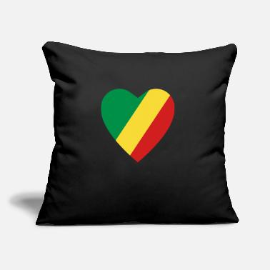 "Congolese Girlfriend Congo-Brazzaville Flag Heart - Throw Pillow Cover 18"" x 18"""