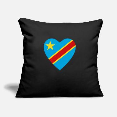 "Congolese Girlfriend Congo-Kinshasa Flag Heart - Throw Pillow Cover 18"" x 18"""