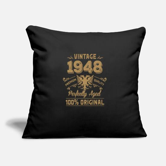 "Born In Febuary Pillow Cases - Vintage 1948 Premium Quality Orginal - Throw Pillow Cover 18"" x 18"" black"