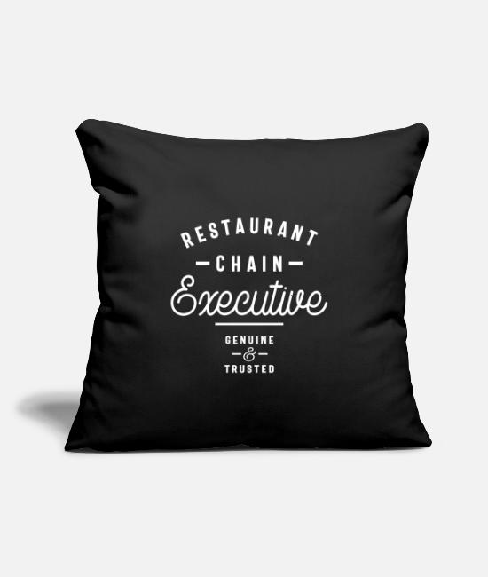 "Chain Saw Pillow Cases - Restaurant Chain Executive - Throw Pillow Cover 18"" x 18"" black"