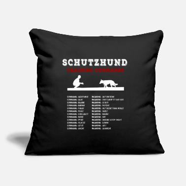 "Training Schutzhund - Dog Training Commands In German - Throw Pillow Cover 18"" x 18"""