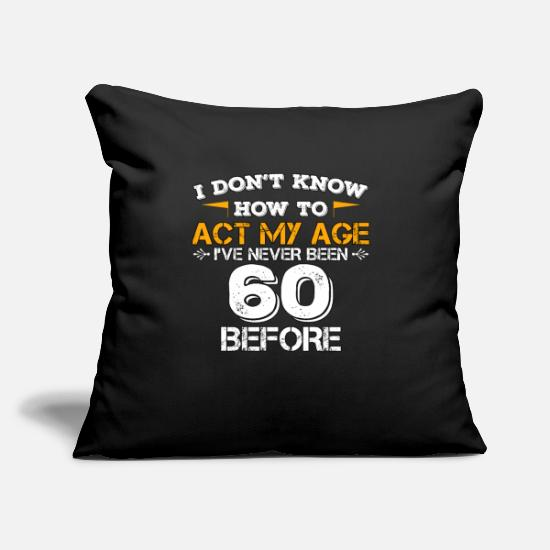 "Years Pillow Cases - Funny Birthday Gift 60 Years Sixty Born in 1958 - Throw Pillow Cover 18"" x 18"" black"