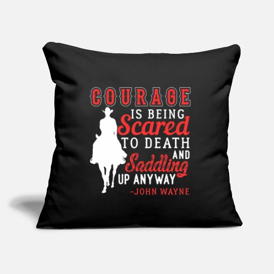 "Rodeo Pillow Cases - Courage Saddle Up Horse Cowboy - Throw Pillow Cover 18"" x 18"" black"