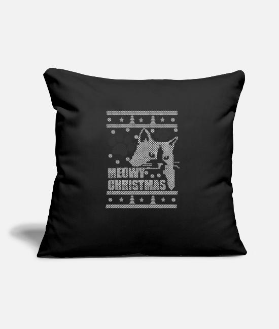 "Christmas Funny Pillow Cases - Meowy Christmas - Throw Pillow Cover 18"" x 18"" black"