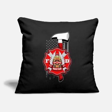 "Fire Red Lives Matter Firefighter T Shirt - Throw Pillow Cover 18"" x 18"""