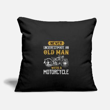 "Motorcycle old man with a motorcycle - Throw Pillow Cover 18"" x 18"""