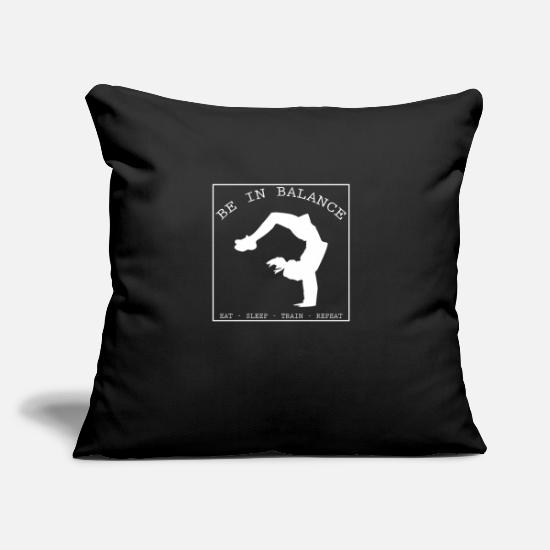 "Gymnast Pillow Cases - BE IN BALANCE V2 (w) - Throw Pillow Cover 18"" x 18"" black"