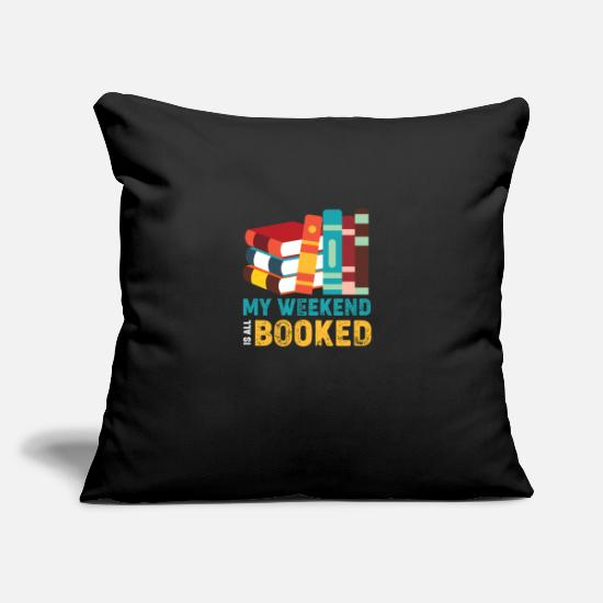 "Book Pillow Cases - Books - Throw Pillow Cover 18"" x 18"" black"