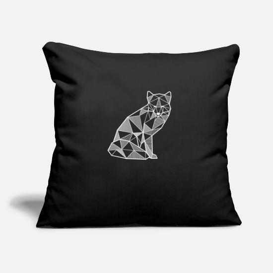 "Line Pillow Cases - Fox geometric polygon gift idea hipster animal - Throw Pillow Cover 18"" x 18"" black"