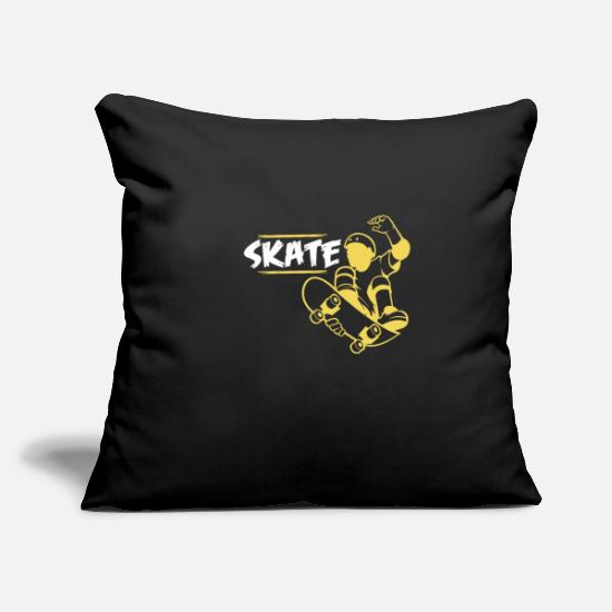 "Skater Pillow Cases - Skater - Throw Pillow Cover 18"" x 18"" black"