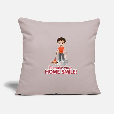 "Cleaning Man House Smile Clean Man Professional Housekeeper Gif - Throw Pillow Cover 18"" x 18"""