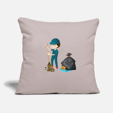 "Cleaning Man Man Clean Street Sweeper Gift - Throw Pillow Cover 18"" x 18"""