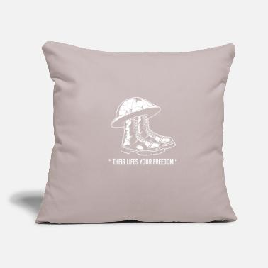 "Training Their Lifes Your Freedom Veteran Soldier Gift - Throw Pillow Cover 18"" x 18"""