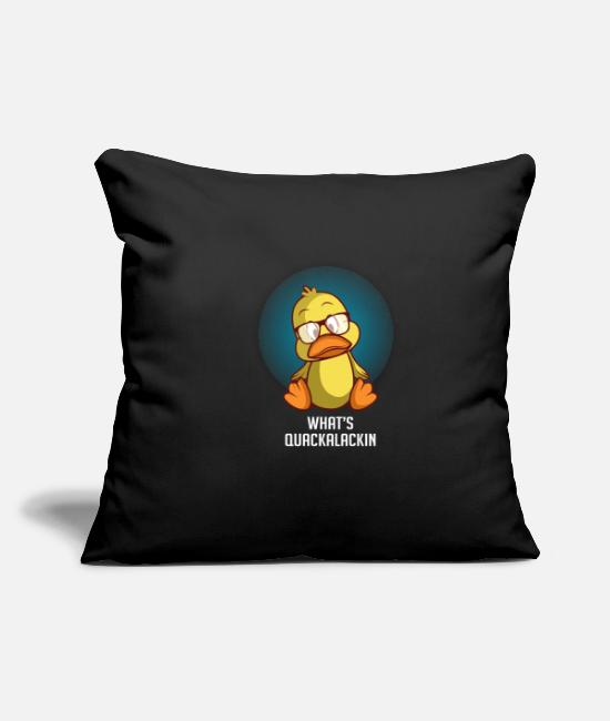 "Stag Pillow Cases - What's Quackalackin' Zookeeper Or Animal Lover Gif - Throw Pillow Cover 18"" x 18"" black"