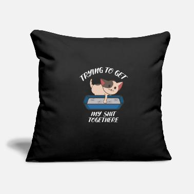 "Family Cat Get My Shit Together Motivated Person Gift - Throw Pillow Cover 18"" x 18"""