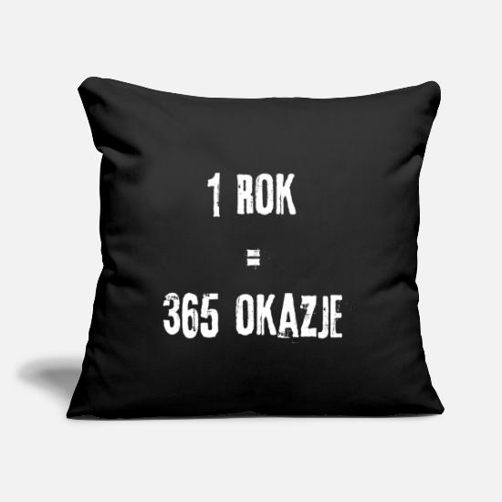 "Polska Pillow Cases - 1Year =365 Opportunities in Polish - Throw Pillow Cover 18"" x 18"" black"