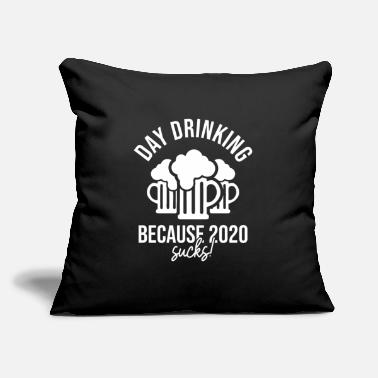 "Wine Lover Funny Day Drinking 2020 Sucks Beer Quarantine Gift - Throw Pillow Cover 18"" x 18"""