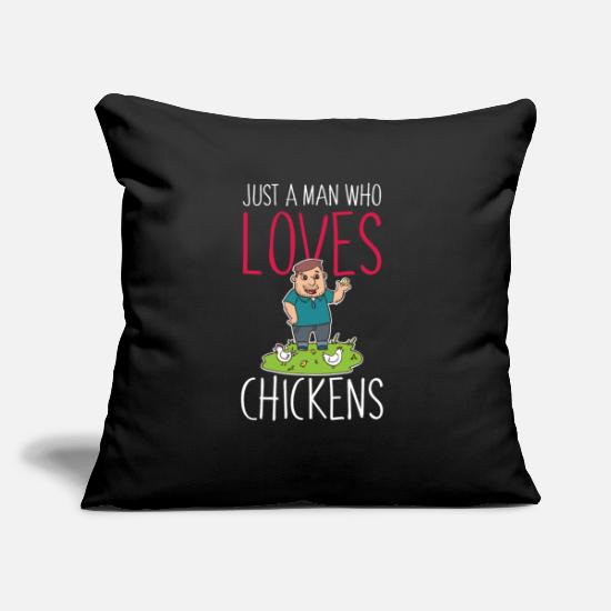 "Chicken Pillow Cases - Chicken Man Poultry Farmer Gag - Throw Pillow Cover 18"" x 18"" black"