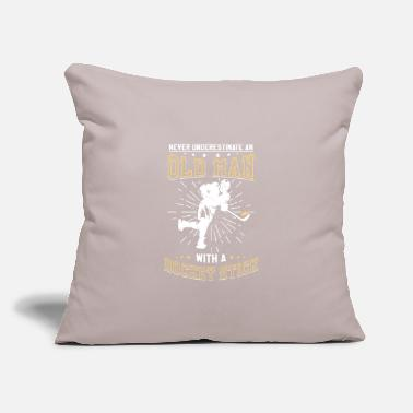 "Old Hockey Dad Grandpa Father's Day Gift Sport Ice - Throw Pillow Cover 18"" x 18"""