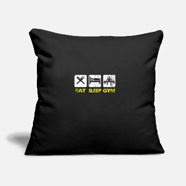 "Fitness Center Gym Eat Sleep Train Hard Sport Fitness Center Gift - Throw Pillow Cover 18"" x 18"""