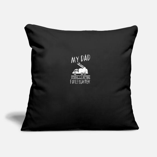 "Engineer Pillow Cases - My dad is a firefighter - fire department - Throw Pillow Cover 18"" x 18"" black"