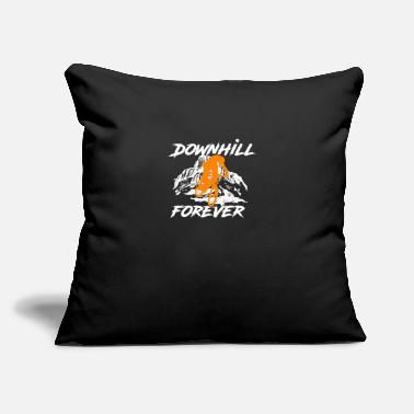 "Downhill Downhill forever - mountain bike, gift, MTB - Throw Pillow Cover 18"" x 18"""