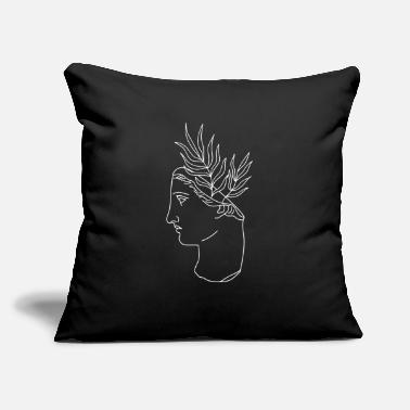 "Greek Side profile of face statue with plants - Throw Pillow Cover 18"" x 18"""