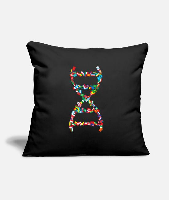 "Medicine Pillow Cases - International DNA Helix - Throw Pillow Cover 18"" x 18"" black"